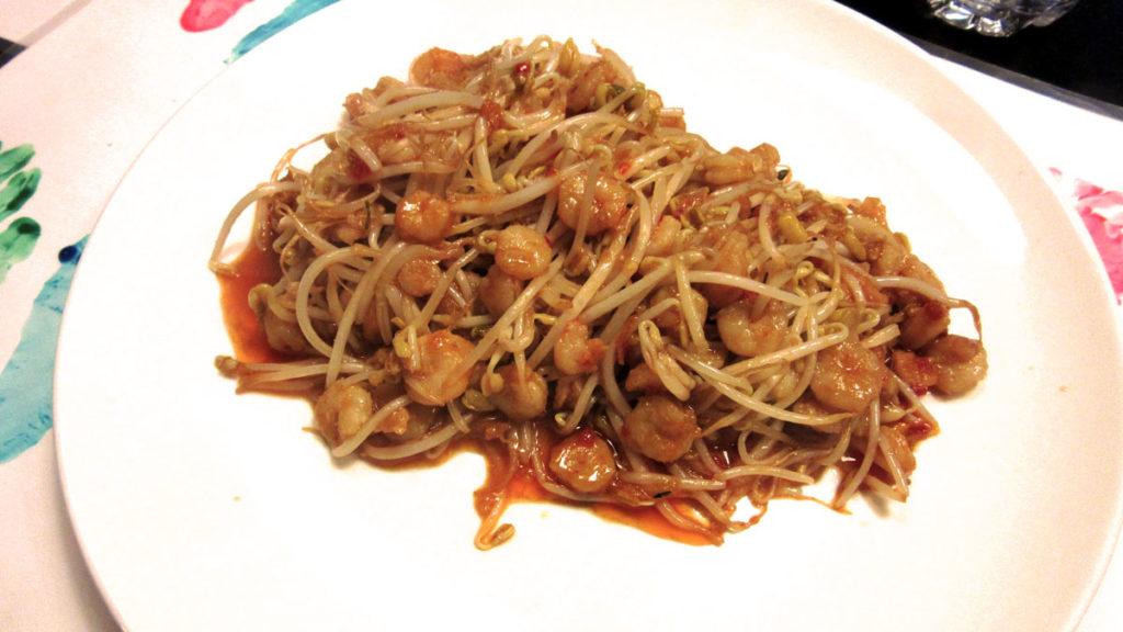 Germogli di soia e gamberetti in dolce e piccante